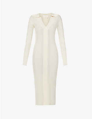 REMAIN BIRGER CHRISTENSEN: Joy ribbed fitted woven midi dress