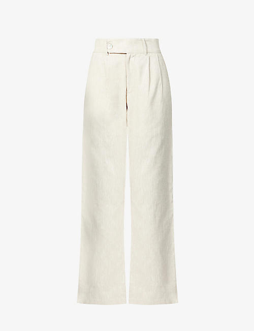 THE LINE BY K: Bettina relaxed-fit high-rise linen-blend trousers