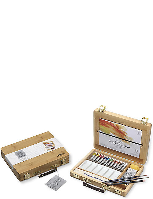 WINSOR & NEWTON: Professional Watercolour bamboo wooden box set