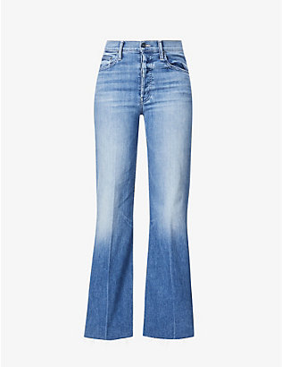 MOTHER: The Tomcat Roller frayed high-rise stretch-denim jeans