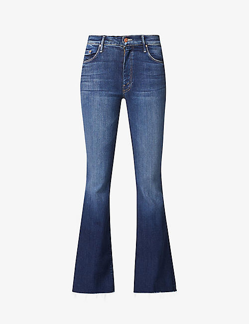 MOTHER: The Weekender Fray slim-fit high-rise flared stretch-denim jeans
