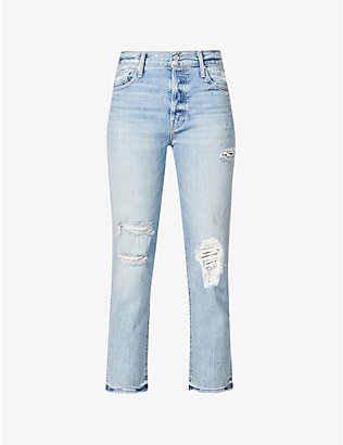 MOTHER: The Scrapper Ankle straight stretch-denim jeans