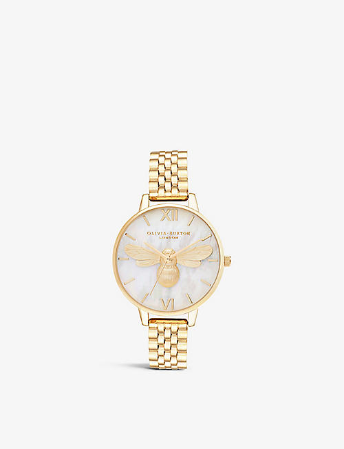 OLIVIA BURTON: OB16FB10 Lucky Bee yellow gold-plated stainless-steel watch