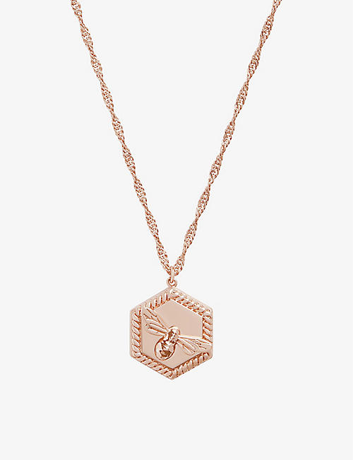 OLIVIA BURTON: Lucky Bee rose gold-plated brass locket necklace