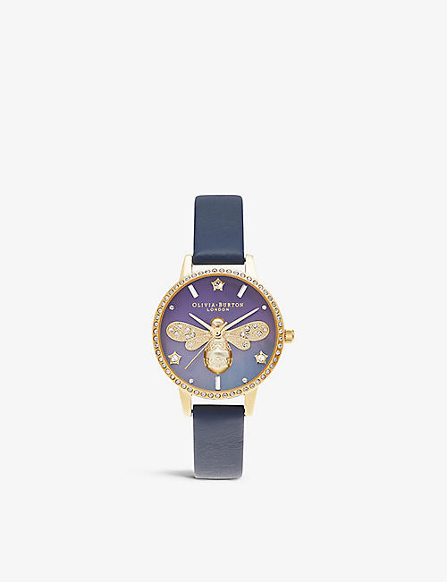 OLIVIA BURTON: OB16GB06 Sparkle Bee stainless-steel and leather watch