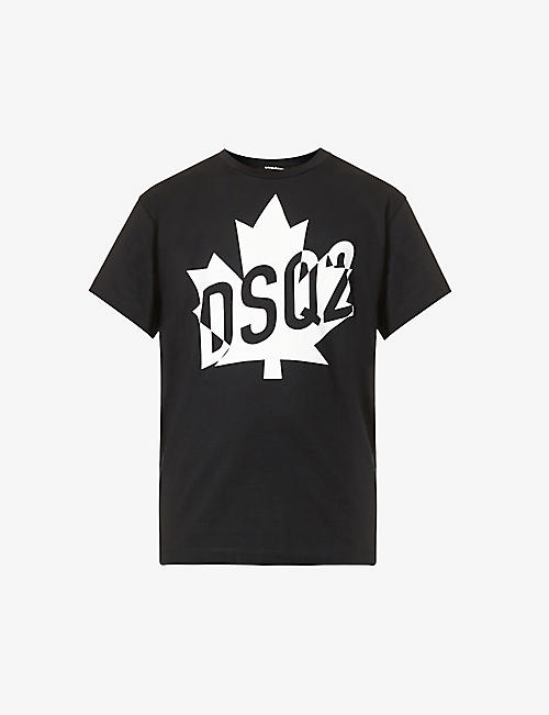 DSQUARED2: Maple Leaf graphic-print cotton-jersey T-shirt