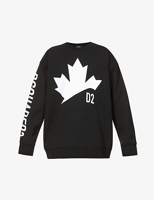 DSQUARED2: Leaf brand-print cotton-jersey sweatshirt