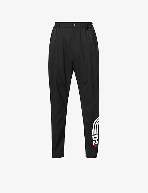 DSQUARED2: Logo-tape slim-fit stretch-wool trousers