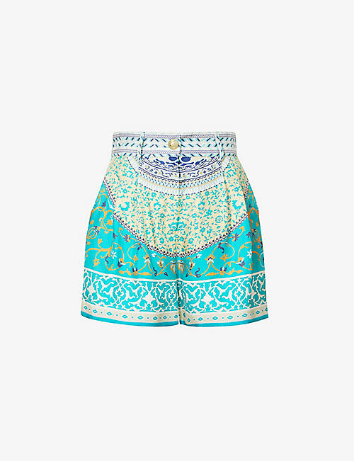 ETRO: Capri high-rise silk-satin shorts