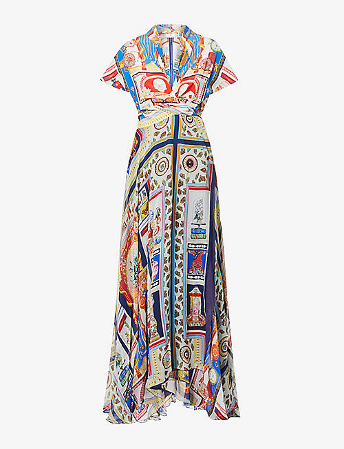 ETRO: Portofino printed silk-crepe maxi dress