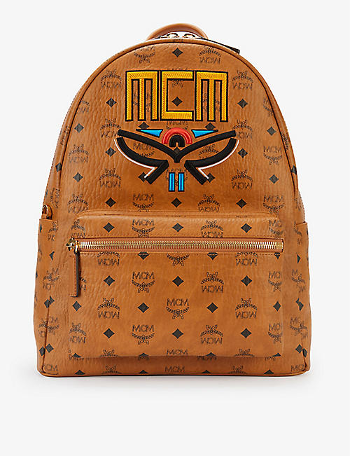 MCM: Stark logo-print faux-leather backpack