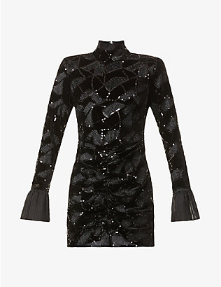 ROTATE BIRGER CHRISTENSEN: Miki geometric sequinned-pattern velvet mini dress
