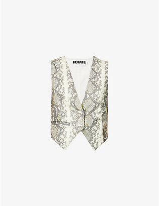 ROTATE BIRGER CHRISTENSEN: Lauryn snake-print faux-leather waistcoat