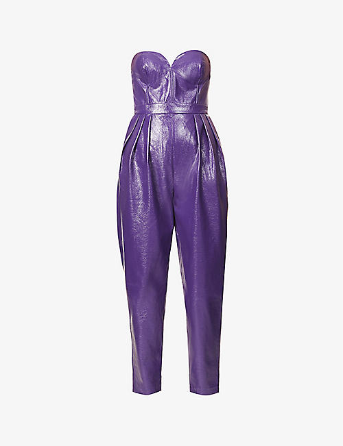 ROTATE BIRGER CHRISTENSEN: Lana strapless faux-leather jumpsuit