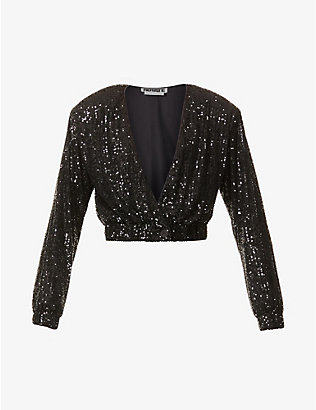 ROTATE BIRGER CHRISTENSEN: Judy padded-shoulder cropped sequinned jacket