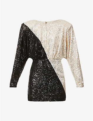 ROTATE BIRGER CHRISTENSEN: Billie padded-shoulders sequinned mini dress