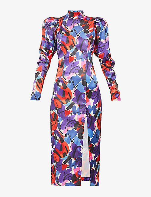 ROTATE BIRGER CHRISTENSEN: Theresa graphic floral-print stretch-satin midi dress