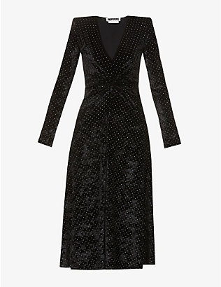 ROTATE BIRGER CHRISTENSEN: Lily embellished stretch-velvet midi dress