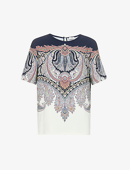 ETRO: Chio paisley-print stretch-woven T-shirt