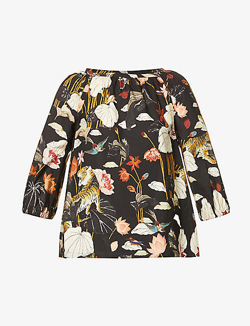 ETRO: Samo floral-print cotton-poplin top