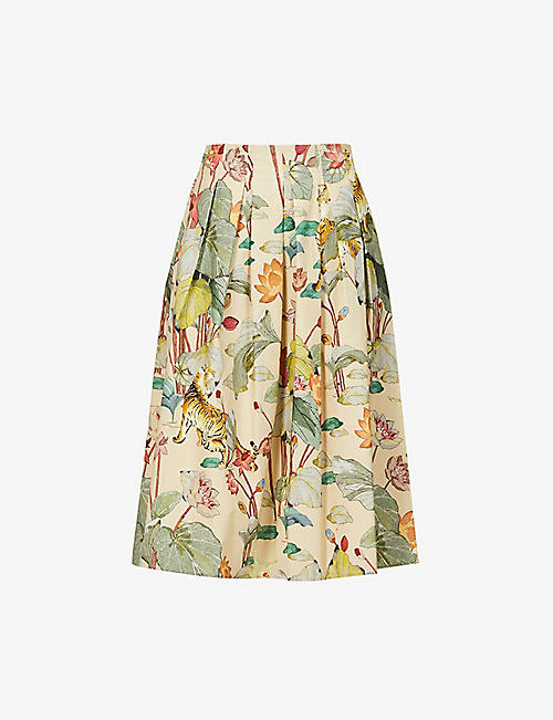 ETRO: Gonna Lampedusa high-waist cotton-poplin midi skirt