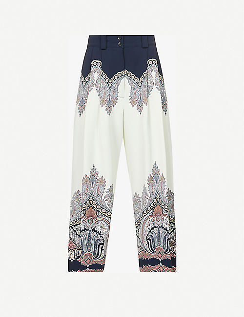 ETRO: Corsica high-rise relaxed-fit stretch-woven trousers