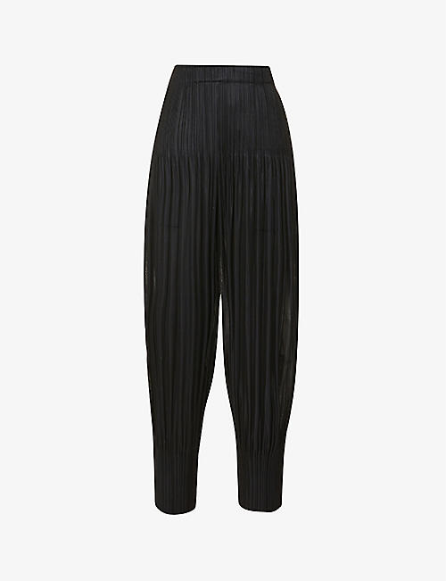 PLEATS PLEASE ISSEY MIYAKE: Fluffy pleated tapered high-rise woven trousers
