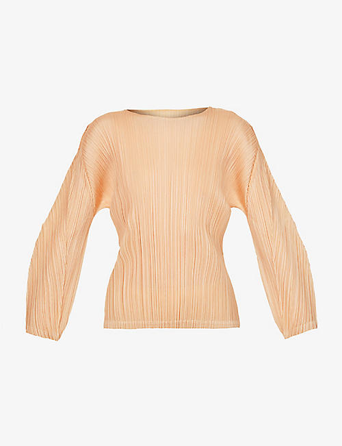 PLEATS PLEASE ISSEY MIYAKE: Boat-neck pleated woven top