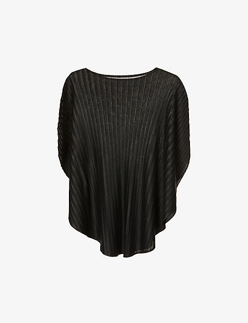 PLEATS PLEASE ISSEY MIYAKE: Cape-sleeved oversized woven top