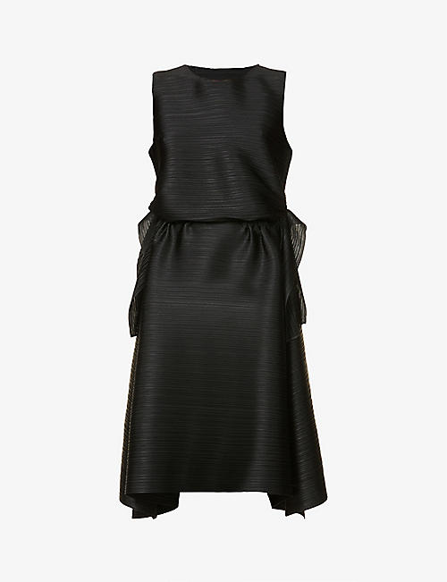 PLEATS PLEASE ISSEY MIYAKE: Dive boat-neck woven midi dress