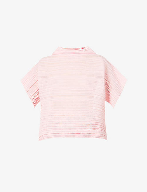 PLEATS PLEASE ISSEY MIYAKE: High-neck pleated cotton-blend top