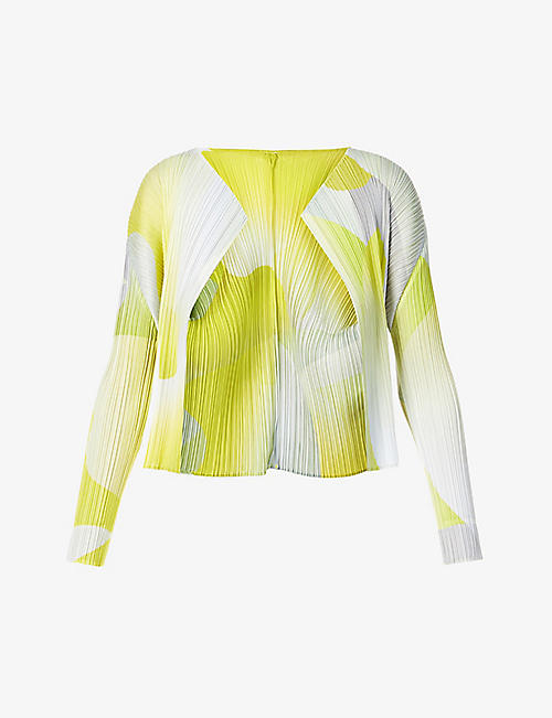 PLEATS PLEASE ISSEY MIYAKE: Flower abstract-print woven cardigan
