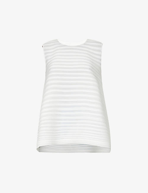 PLEATS PLEASE ISSEY MIYAKE: Komo pleated woven top