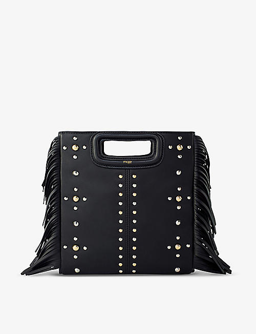 MAJE: M studded leather cross-body bag