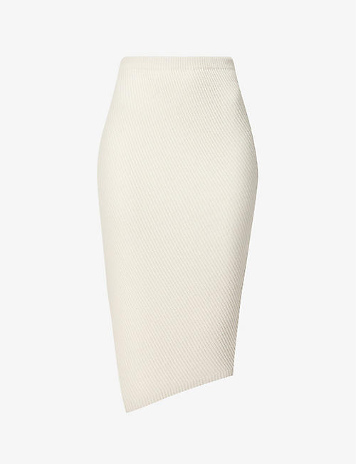 THEORY: Twisted stretch-wool midi skirt