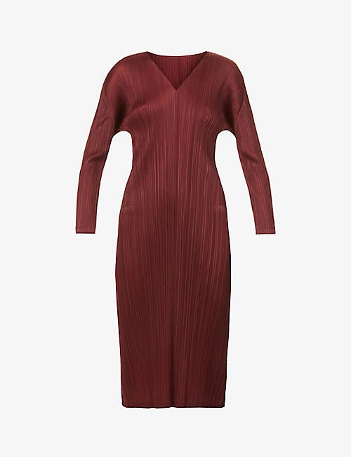 PLEATS PLEASE ISSEY MIYAKE: Monthly V-neck pleated woven midi dress