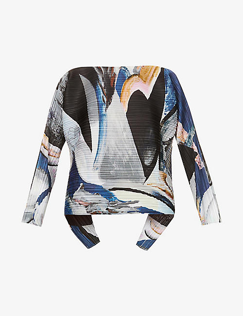 PLEATS PLEASE ISSEY MIYAKE: Musa graphic-print pleated woven top