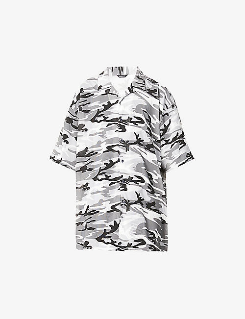 BALENCIAGA: Happy News camouflage-print oversized mesh shirt