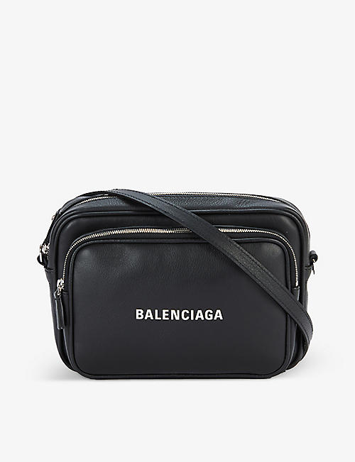 BALENCIAGA: Logo-patch zipped leather camera bag