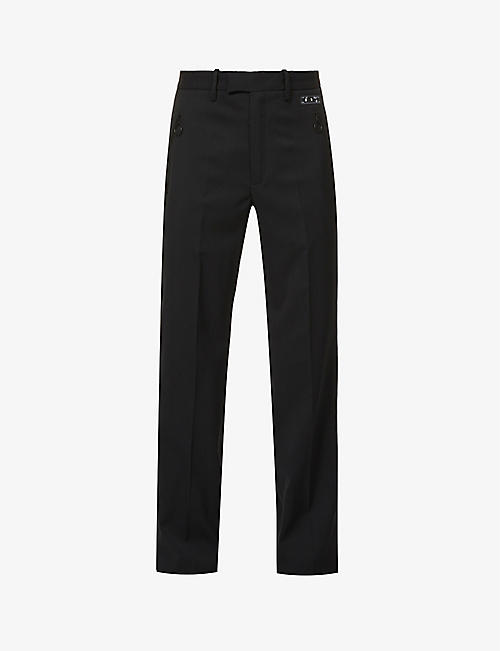 OFF-WHITE C/O VIRGIL ABLOH: Satin-trim straight-leg stretch-twill trousers