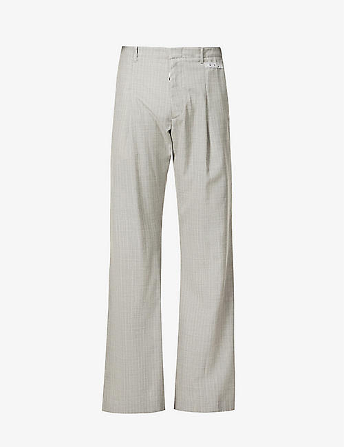 OFF-WHITE C/O VIRGIL ABLOH: Striped relaxed-fit straight wool trousers