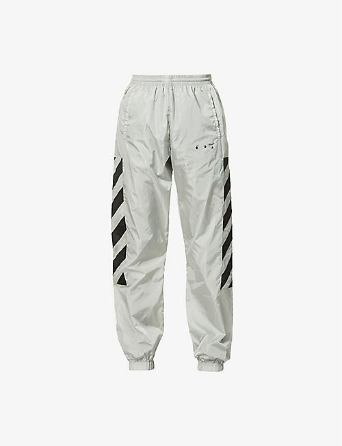 OFF-WHITE C/O VIRGIL ABLOH: Diagonal-print relaxed-fit shell jogging bottoms