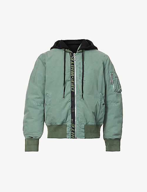 OFF-WHITE C/O VIRGIL ABLOH: Arrow logo-print hooded cotton-twill bomber jacket