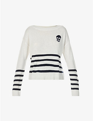 360 CASHMERE: Spencer skull-patch cashmere jumper