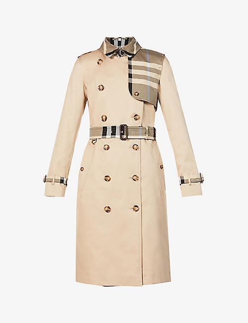 BURBERRY: Checked-panel cotton trench coat