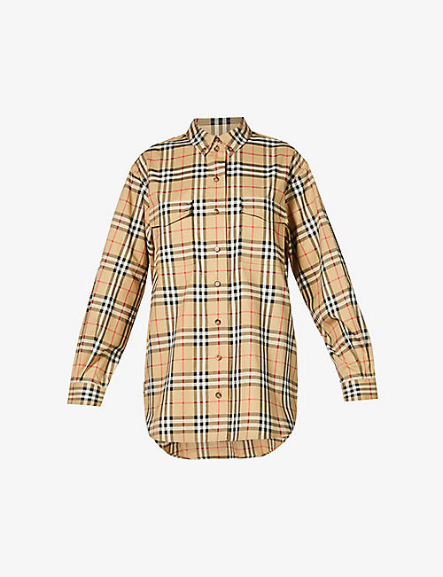 BURBERRY: Turnstone checked stretch-cotton shirt