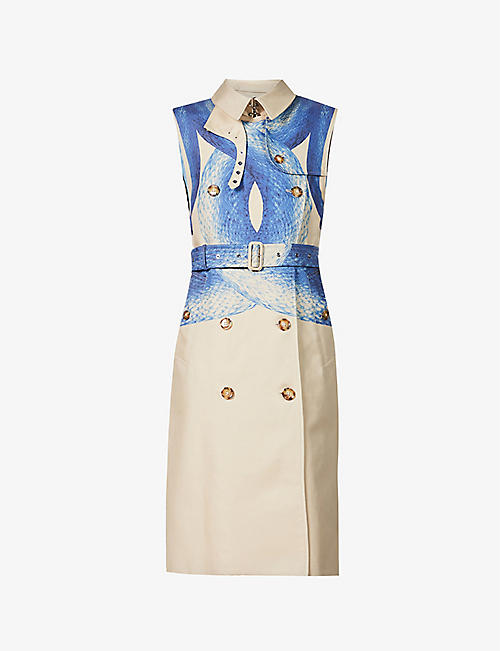 BURBERRY: Mermaid Tail-print sleeveless cotton-twill coat
