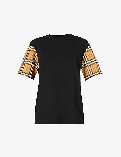 BURBERRY: Serra checked-sleeve cotton-jersey T-shirt