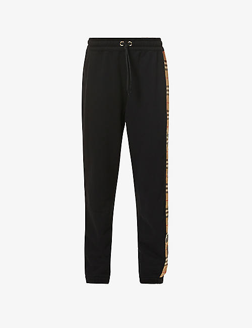 BURBERRY: Raine checked-panel cotton-jersey jogging bottoms