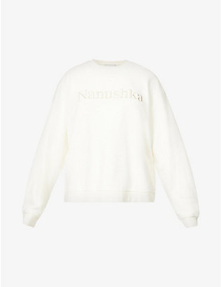 NANUSHKA: Remy logo-embroidered organic cotton-jersey sweatshirt